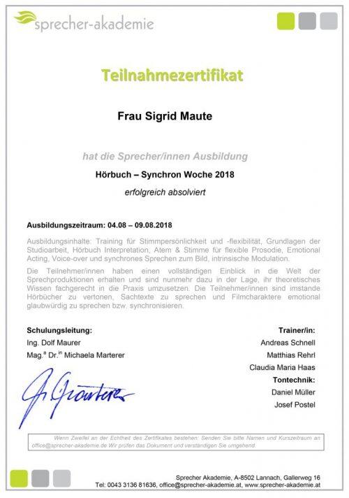 Maute Sigrid 18H MUE HSW version 2
